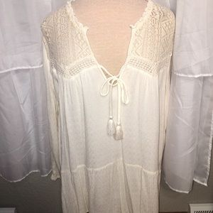 American Eagle cream top with tie string size M